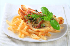 Pan fried fish fillets with fries Royalty Free Stock Photo