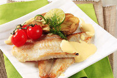 Pan fried fish fillets Stock Photos
