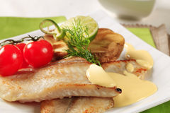 Pan fried fish fillets Royalty Free Stock Photos