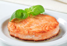 Pan-fried fish patty. Pan-fried fish fillet formed into a patty Royalty Free Stock Photography