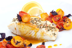 Pan fried halibut. Garnished with fennel seeds and spicy mustard sauce, served with fried cherry tomatoes salad with purple basil Stock Photography