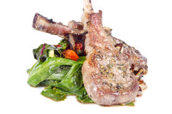 Pan Fried Lamb Chops and Swiss Chard Royalty Free Stock Images