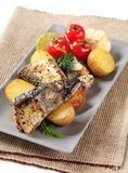 Pan fried mackerel Stock Photos