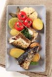 Pan fried mackerel Stock Photos