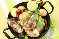 Pan fried mackerel with cream sauce and new potatoes Royalty Free Stock Image