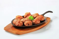 Pan-fried meat balls Royalty Free Stock Photography