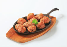 Pan-fried meat balls Royalty Free Stock Images