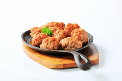 Pan-fried meat balls Stock Images