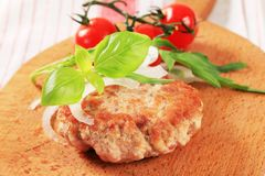 Pan fried meat patty Royalty Free Stock Photos