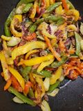 pan fried mixed vegetables royalty free stock photography