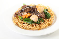 Pan fried noodles with mushroom Royalty Free Stock Photo