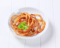Pan-fried onion strings Stock Images