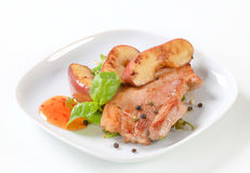 Pan fried pork and apple slices Stock Photography