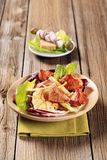 Pan fried pork and vegetable salad Royalty Free Stock Photography