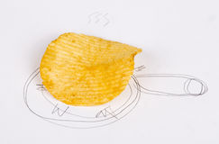 A pan fried potato chips Stock Image