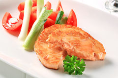 Pan fried salmon Royalty Free Stock Images