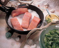 Pan Fried Salmon Fish Spicy Salt Royalty Free Stock Image