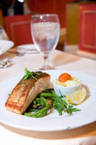 Pan Fried Salmon with green beans royalty free stock photos