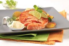 Pan fried salmon patty Stock Photography