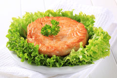 Pan fried salmon patty Royalty Free Stock Image