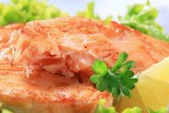 Pan fried salmon patty Stock Image