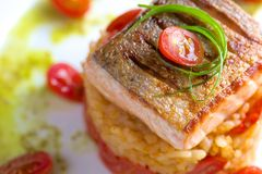 Pan fried salmon on the rice Royalty Free Stock Images