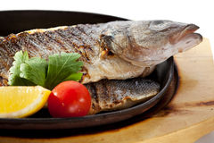 Pan-Fried Sea Bass Royalty Free Stock Images