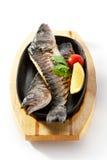 Pan-Fried Sea Bass Stock Photo