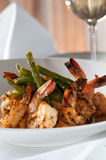 Pan fried shrimp and grits royalty free stock photo