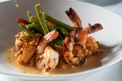 Pan fried shrimp and grits stock photo