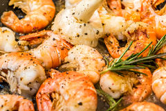 Pan fried shrimp with rosemary. In the kitchen Royalty Free Stock Photos