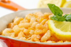 Pan fried shrimps Royalty Free Stock Photography