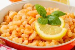 Pan fried shrimps Stock Photo