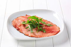 Pan fried slice of smoked ham Stock Photography