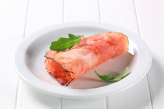 Pan fried slice of smoked ham Royalty Free Stock Images