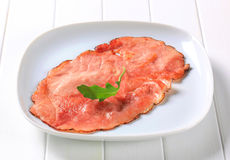 Pan fried slice of smoked ham Stock Images