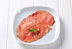 Pan fried slice of smoked ham Royalty Free Stock Photo