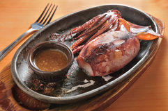 Pan-Fried Squid. Japanese cuisine pan-fried squid stock photo