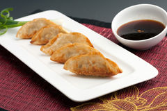 Pan Fried Thai Gyoza Dumplings Stock Afbeeldingen