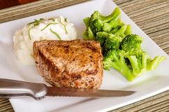 Pan-fried top sirloin filet steak. With broccoli and mashed potatoes Royalty Free Stock Photography