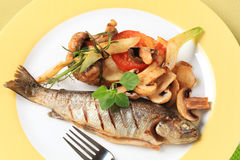 Pan fried trout Stock Photo