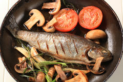 Pan fried trout Royalty Free Stock Image