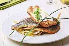 Pan Fried Trout Fillets And Baked Potato Royalty Free Stock Photos