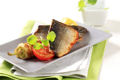 Pan fried trout fillets Stock Image