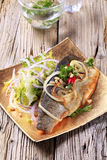 Pan fried trout with green salad Royalty Free Stock Photo