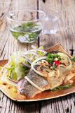 Pan fried trout and green salad Stock Photography