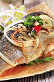 Pan fried trout with green salad Royalty Free Stock Photography