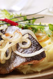 Pan fried trout with mashed potatoes Royalty Free Stock Image