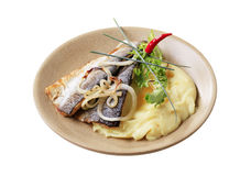Pan fried trout with mashed potatoes Royalty Free Stock Images