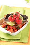 Pan fried trout  and mixed vegetables Stock Images
